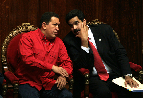 Hugo Chavez, left, Venezuela's president, speaks with Nicola