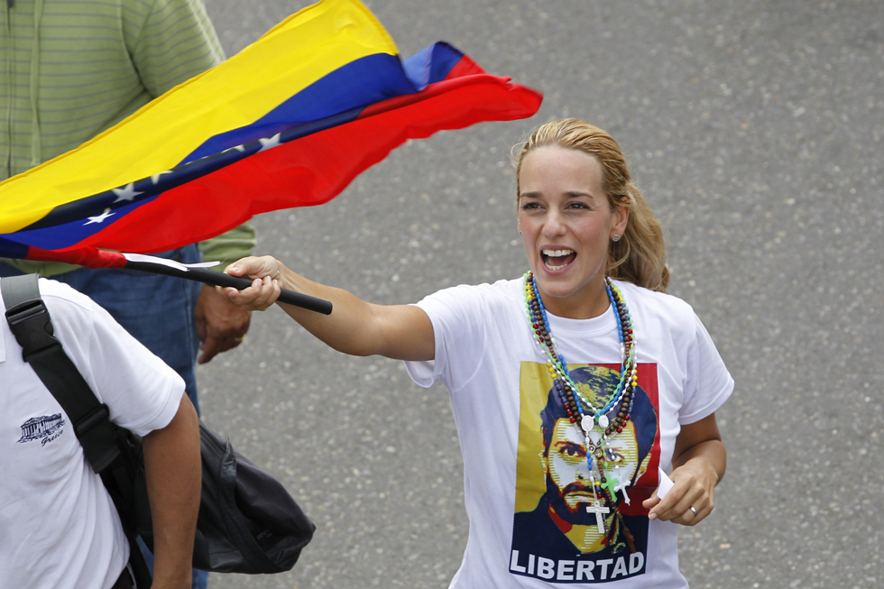 Lilian Tintori wife of jailed opposition leader Leopoldo Lopez march during anti-government protest against education reforms in Caracas